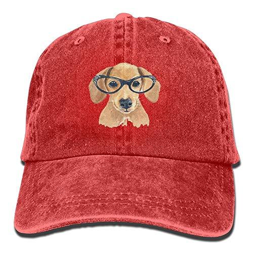 Wdskbg Netter Hund Mit Brille Unisex Justierbare Baseballmützen Denimhüte Cowboy Sport Outdoor Multicolor34