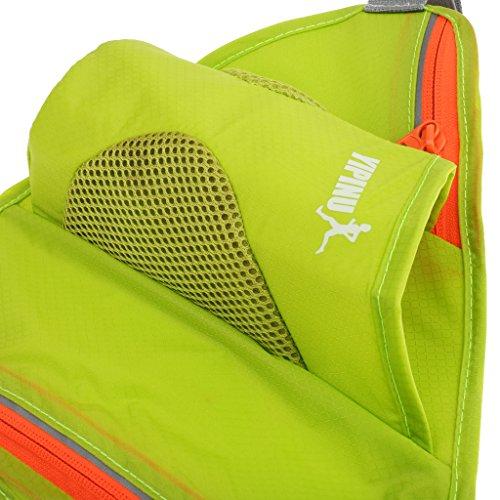 Generic Donna Uomo Sport Trekking Borsa Marsupi Cintura Zip Tasca Bottiglia Acqua Sacchetto - Nero verde