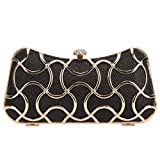 Bonjanvye Metal Clutch Evening Bags for Women Clutch With Handle Black