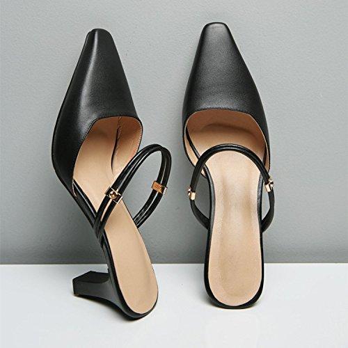 ZYUSHIZ Das Halteband Frauen Schuhe Baotou Punkt und ziehen Ist High-Heel Fein mit Sandalen Hausschuhe Schwarz