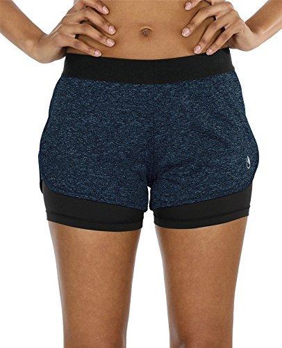 icyzone Damen Sport Shorts Kurze Hosen Sporthose - 2 in 1 Laufshorts Fitness Yoga Hot Pants (Royal Blue,XL)