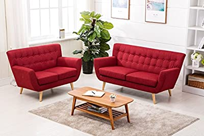 Home Source - Scandinavian-inspired Retro Styling 2 or 3 Seater Fabric Cushioned Sofa by Home Source