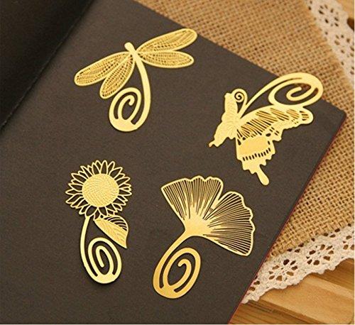 Kimberleystore - Segnalibro in metallo, ultrafine, dorato, intagliato, creativo - 6 pezzi
