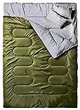 Ohuhu 86 'x 59'(218 x 150cm) Groß Doppelschlafsack mit 2 Gratis Kissen und eine Tragetasche, vier Doppel Zippern - angenehme Temperatur: 0 ° C / 32F ~ 10 ° C / 50F … (Armeegrün)