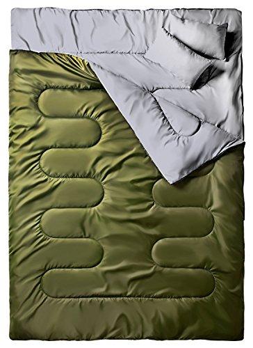 """Ohuhu 86\""""x 59\""""(218 x 150cm) Groß Doppelschlafsack mit 2 Gratis Kissen und eine Tragetasche, Vier Doppel Zippern - angenehme Temperatur: 0 ° C / 32F ~ 10 ° C / 50F ... (Armeegrün)"""