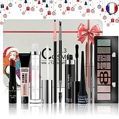 Coffret de Noel Maquillage - 10 Essentiels de maquillage Dans une boite Box Spéciale Noël