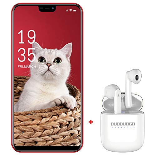 Smartphone Pas Cher 5.86 Pouces HD 3Go+32Go/128Go ROM 13MP Telephone Portable Debloqué 4G Android 9.0 Double SIM Face ID 4200mAh DUODUOGO Pro 11 Téléphone Portable Pas Cher sans Forfait (Rouge)