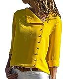 ASKSA Damen Bluse Chiffon V-Ausschnitt Oberteile Button-Down Langarm Hemdbluse Tunika Verstellbar Tops (Gelb, X-Large)