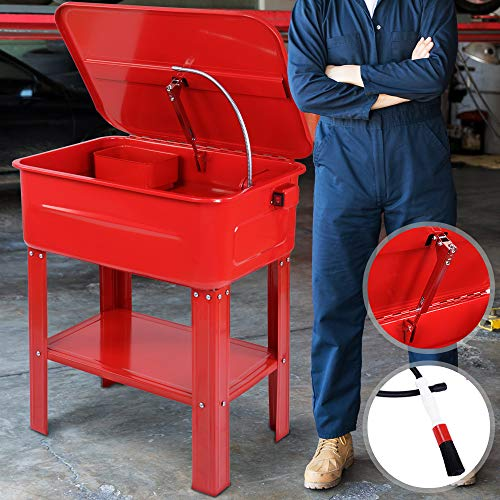 Vasca di Lavaggio Lavapezzi 80 L | con Pompa 26 W, Spazzola di Pulizia e Vassoio Rimovibili per Piccole Parti | Pilizia Attrezzatura, Lava Atrezzi per Officina, Produzione Automobilistica