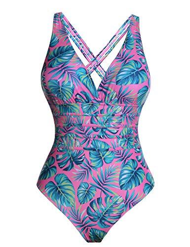 Aibrou costume da bagno donna sexy interi bikini costumi da mare spiaggia elegante monokini s-xxl (rosa*foglia, x-large)
