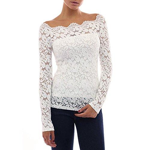 EUzeo_Mujer Camiseta Manga Larga Blusas de Encaje Flores Lace Crochet Sin Tirantes Camisas Shoulder Off Lace Shirt Blusa Camisas Moda Mujer Fiesta Crop Top (L, Blanco)