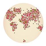 Original abstract art design Weltkarte und rot Rose Maßgeschneiderte Runde Mauspad Mat für Maus