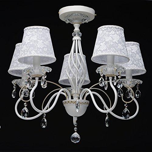Eleganter Kronleuchter Metall weiße Stoffschirme 5 flammig Kristall klar - 3