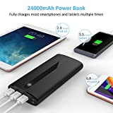 Sipu Power Bank 24000mAh Portable Charger External Battery with 2.1A Input Port, LED Lights and 3 Charging Ports for iPhone, iPad, Android, Samsung Galaxy and Other Devices, Black