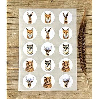 Tiere Sticker A4 Bogen, 15 Stk. ca.5 cm Durchmesser, Wildtiere Aufkleber, selbstklebende runde Etiketten mit Tier-Motiven, Wald Tiere, Ostern, Kindergarten Sticker, Geschenk Verpackung, Papeterie