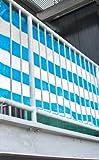 Balkonsichtschutz Balkonverkleidung Windschutz in Blau/Weiß 500x90 cm