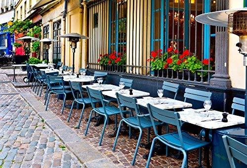 s Restaurant Fotografie 10x6.5ft Foto Restaurant Tisch Straße Abendessen Gläser Stuhl Party Stadt Europa Patio außerhalb Paris Frankreich Bistro Heißes Getränk leer ()