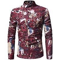 WULIFANG Impresión Floral Moda Hombres Camiseta De Manga Larga Y Delgada De Algodón Camisa De Hombre Casual Rojo XXXL