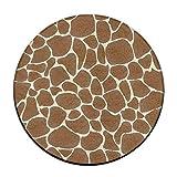 WENEOO LA Giraffe Print Non Skid Doormats Soft Coral Velvet Pads (23.6 inch) Floor Mats Round Area rug