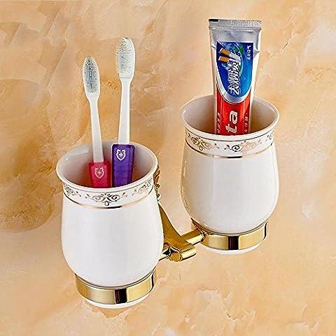 QUEEN'S Contemporaneo di rame placcati in oro con vetro doppio titolari dello spazzolino da denti di accessori per il bagno - Titolare Coccinella Spazzolino