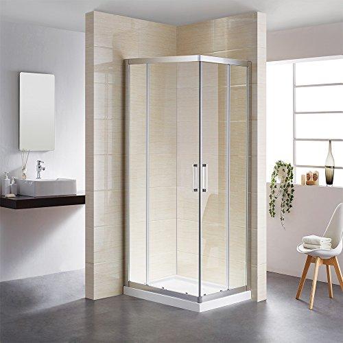 Doppelschiebetür,Duschkabine 75x90 Eckeinstieg, Schiebetür Duschabtrennung mit Rollen System, ESG Echtglas,Duschwand, Duschtür,Höhe 195cm