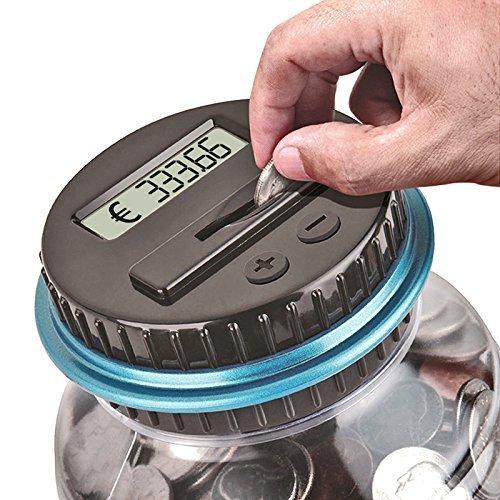 Exsart Digitale Münze Zählen Geld sparen Box Münze Zählwerk Münze Bank mit LCD Dispaly, 2,5L Kapazität