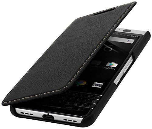 StilGut Book Type Case, Hülle Leder-Tasche für BlackBerry KEYone. Seitlich klappbares Flip-Case aus Echtleder für Das Original BlackBerry KEYone, Schwarz