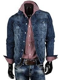 Tazzio jean pour homme biker veste de mi-saison étiquette denim veste bleu