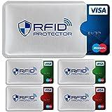 TRAVANDO ® RFID-Schutzhülle Set (5 Stück) für Bankkarte, EC-Karte, Personalausweis, Kreditkarten - 100% Datenschutz durch Kreditkartenhülle/Kartenschutzhülle + 5 Farb-Sticker + GRATIS E-Book, Blau