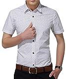 AIYINO Herren Kurzarm Hemd Slim Fit Baumwolle Casual Shirts 4 Farben zur Auswahl S-XL (Small, Weiß)