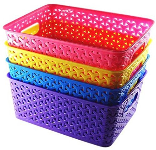 Xllent™ Multipurpose Baskets for Storage Set of-4 Pieces, Multi Color Medium,B20Cm, L26Cm,H11 cm(Color May Very)