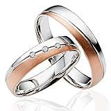 2x 585 Gold Eheringe Partnerringe Trauringe Verlobungsringe in Weißgold & Rotgold *mit Gravur und Steinen*