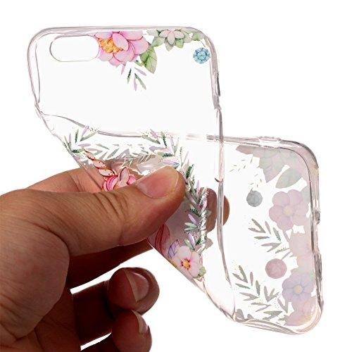 Slynmax Ultra Thin Trasparente TPU Cover per iPhone 6 6S Custodia Silicone Caso Colorato Molle di Morbido Sottile Gel Transparent Bumper Case Protettiva Caso Chiaro Copertura Slim Thin Skin Shell Prot unicorno Fiore