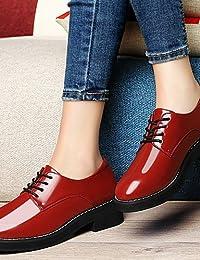 ZQ 2016 Zapatos de mujer - Tacón Plano - Comfort - Oxfords - Oficina y Trabajo / Fiesta y Noche / Vestido - Semicuero - Negro / Rojo ,…