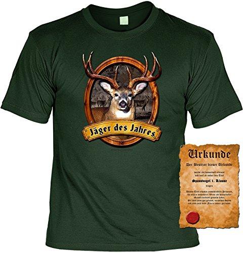 Jäger T-Shirt Jäger des Jahres Jagd Fun Shirt 4 Heroes Geburtstag Geschenk geil bedruckt mit Urkunde Dunkelgrün