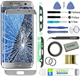 ACENIX® Ersatzglas für Samsung Galaxy S7 Edge Silber + 2 mm Klebeband und Öffnungs-Werkzeug