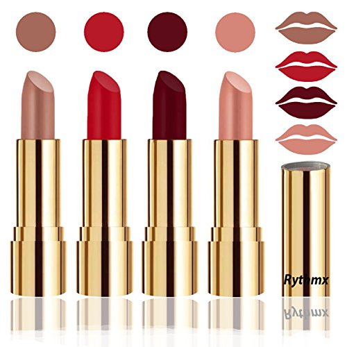 Rythmx Professional Timeless 4 Colors Collection Velvet Touch Matte Lipstick Long Stay on Lips(Peaches Nude, Blood Red, Maroon, Passion Peach)