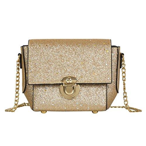 Verrückte Rabatt-Saison UFACE Pailletten-Stern Crossbody Tasche Kette Messenger Bag Mode Frauen Damen Taschen Bling Schultertasche Handtasche (Stil 2-Golden) -