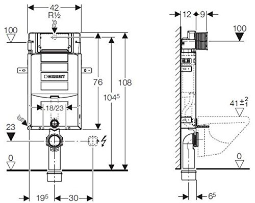 Geberit Kombifix Plus UP- Spülkasten UP320, 110.300.00.5 Bauhöhe 108cm, mit Schallschutzset