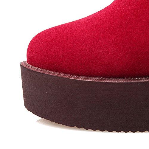 VogueZone009 Damen Rund Zehe Rein Knöchel Hohe Hoher Absatz Stiefel mit Metallisch Rot
