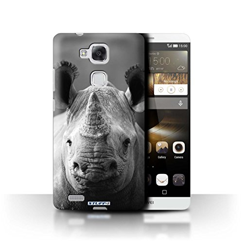 Stuff4® Hülle/Hülle für Huawei Ascend Mate7 / Nashorn Muster/Zoo-Tiere Kollektion