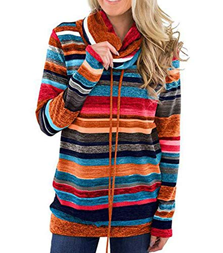 Keephen Womens Casual Wasserfallausschnitt Farbe Gestreift Langarm Kordelzug Pullover Lose Tops mit Taschen