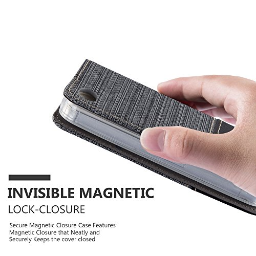 Apple iPhone 4 / 4S Hülle in HELL-GRAU BRAUN von Cadorabo - Handy-Hülle im Stoff Design mit Magnet-Verschluss Standfunktion Karten-Fach Case Cover Schutz-hülle Etui Tasche Book Klapp Style GRAU-SCHWARZ