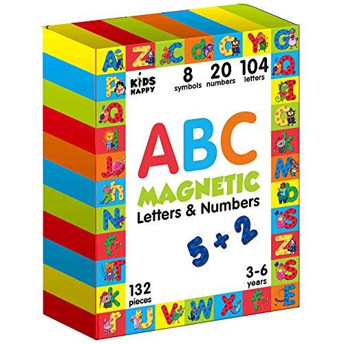 Magnetbuchstaben und Zahlen 132 Stück- Spiele ab 3 jahren Junge Mädchen- Magnete Kinder Buchstaben Lernen Magnete Spielzeug Abc Alphabet- Englisch Lernen Kinder Zahlen lernen Kühlschrankmagnete Kinder