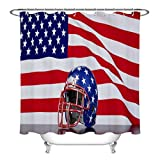 Eybfrre Football Helmet American Flag Duschvorhang, Independence Day Decor Curtain Patriotic American Sport Decor Bathroom Accessories, 59 W x 70 L, Water Repellent Heavy Duty 0J0800