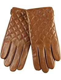ELMA Men's Nappa Leather Thinsulate Quilted Winter Checkered Gloves Gold Plated Logo