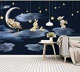 Wemall 3d wandbild nordic minimalistisch handgemalte cartoon kaninchen himmel nacht kinderzimmer hintergrundbild, 350x245 cm (137.8 by 96.5 in)