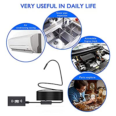 Xianxian88 USB otoscope in-ear inspection mirror, WIFE wireless in-ear scope with 8 adjustable LEDs, 1200P HD otoscope for Android and iOS smartphones, iPhone, tablet