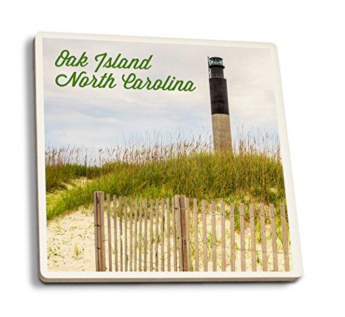Eiche Insel, North Carolina-Leuchtturm, keramik, mehrfarbig, 4 Coaster Set -