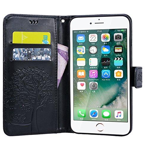 Yokata iPhone 7 Plus Hülle Leder Premium Handyhülle Handy Ledertasche Schutzhülle Flip Case Wallet Tasche Handytasche Weiche Silikon Backcover Innere mit Kartenfach Standfunction und Magnetverschluss  Schwarz